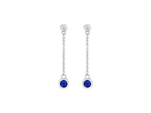 Sapphire and Diamond Earrings  14K White Gold - 0.60 CT TGW