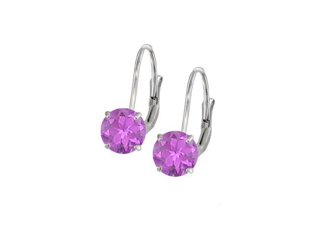 Leverback Earrings in 14K White Gold with Amethyst Gemstone 2.00 CT TGWPerfect Jewelry Gift