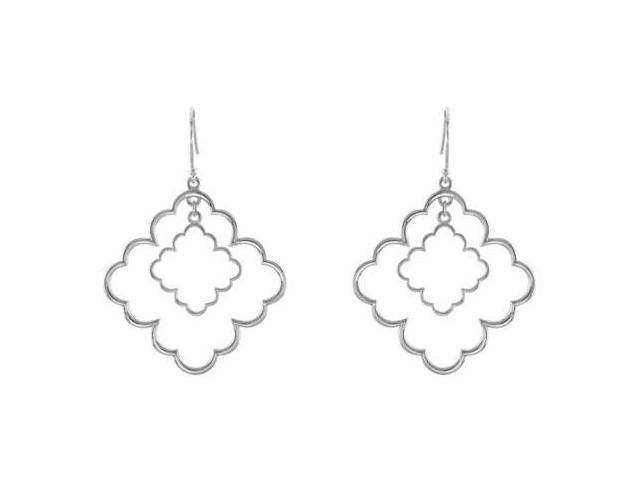 Decorative Rhodium Treated .925 Sterling Silver Earrings 33.50X33.50 MM