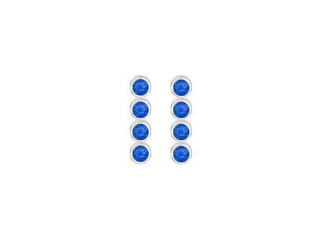 Created Blue Sapphire Drop Earrings in Bezel Set 925 sterling silver Ten Carat Total Gem Weight