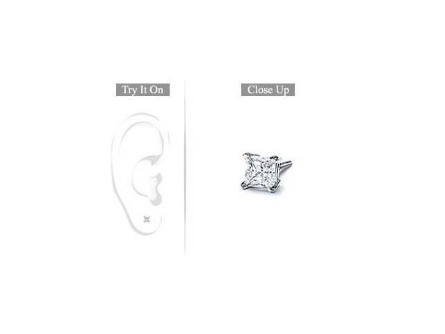 Mens Platinum  Princess Cut Diamond Stud Earring - 0.15 CT. TW.