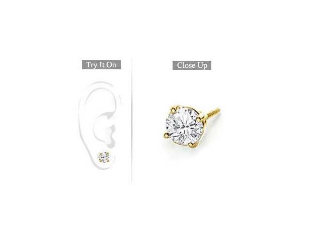 Mens 18K Yellow Gold  Round Diamond Stud Earring  0.75 CT. TW.