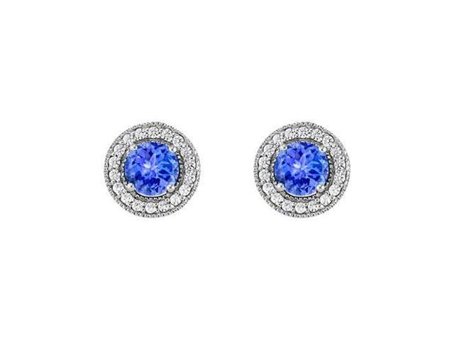 December Birthstone Tanzanite and CZ Halo Stud Earrings in Sterling Silver 2.50 CT TGW