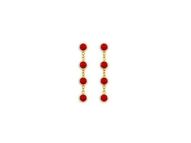 Diamonds By The Yard Ruby Earrings with Tiffany Style Chains in 14K Yellow Gold One Carat TGW