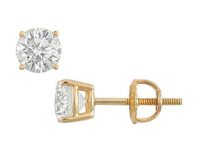 18K Yellow Gold  Round Diamond Stud Earrings  1.25 CT. TW.