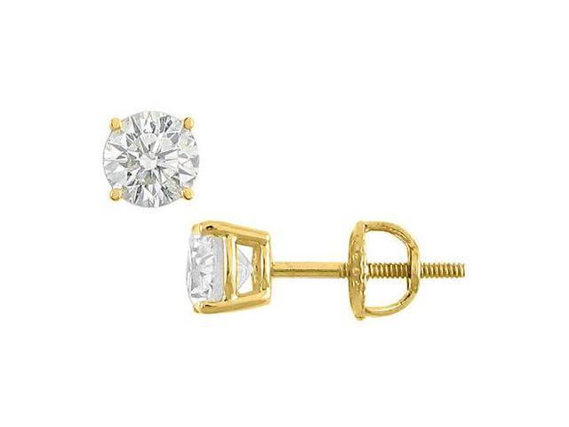 14K Yellow Gold Round Cubic Zirconia Stud Earrings AAA Quality CZ 8 Carat Total Gem Weight