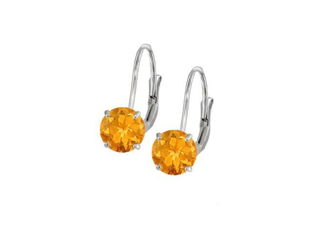 Leverback Earrings in 14K White Gold with Citrine Gemstone 2.00 CT TGWPerfect Jewelry Gift