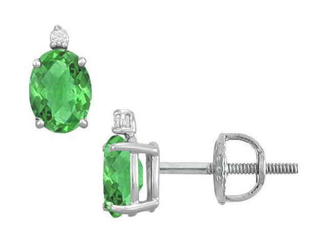 Diamond and Emerald Stud Earrings  14K White Gold - 2.04 CT TGW