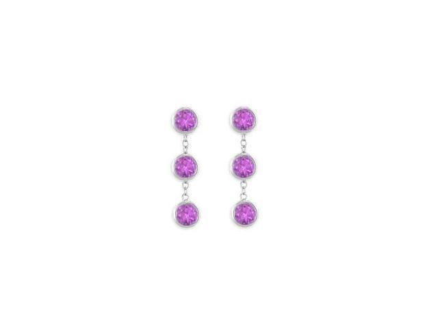925 Sterling Silver Fashion Bezel Set Amethyst Drop Earrings Totaling Six Carat Gem Weight