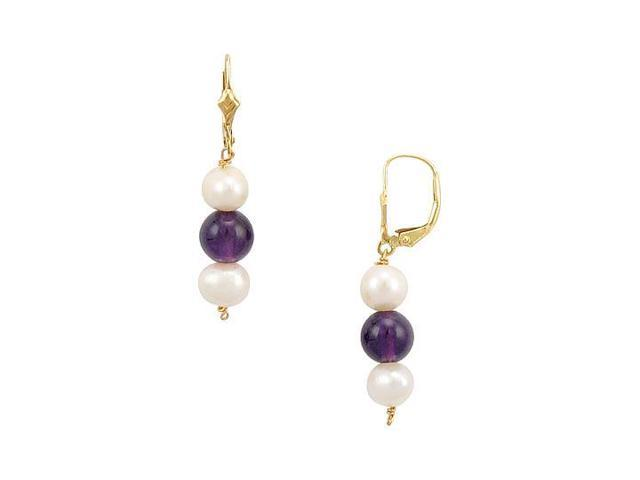 Cultured Pearl and Amethyst Earrings  14K Yellow Gold - 5.00 CT TGW