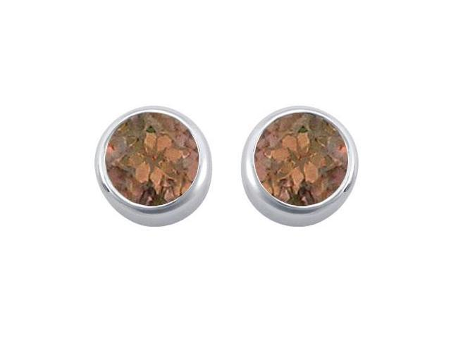 Smoky Quartz Solitaire Stud Earrings in 14kt White Gold 2.00.ct.tgw