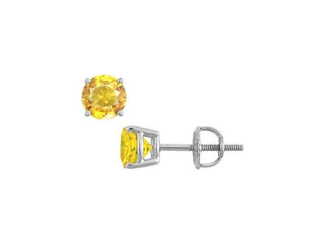 Stud Earrings Yellow Sapphire in 14K White Gold with 7.00 Carat TGW