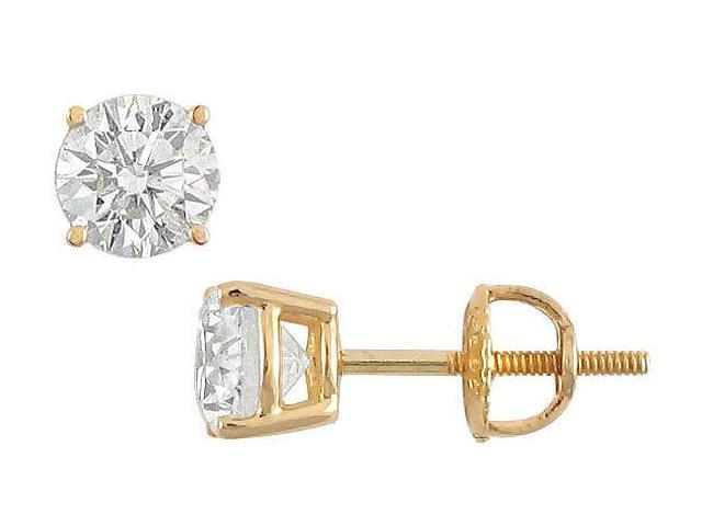 18K Yellow Gold  Round Diamond Stud Earrings  1.50 CT. TW.