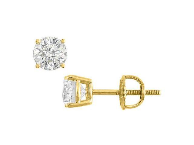 10 Carat Cubic Zirconia Stud Earrings in 14K Yellow Gold Triple AAA Quality CZ in Prong Set