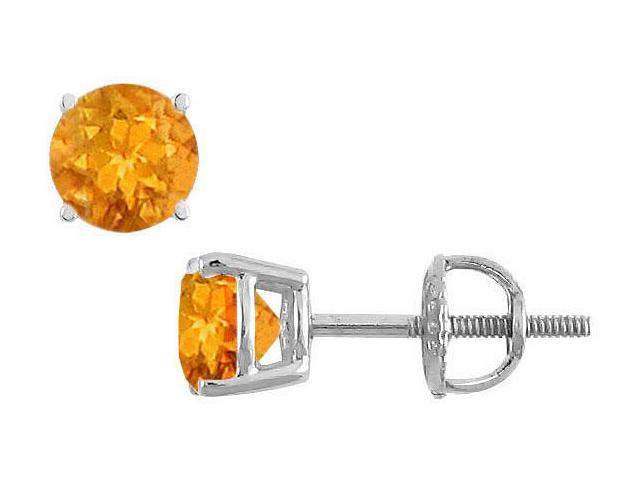 Citrine Stud Earrings  14K White Gold - 2.00 CT TGW