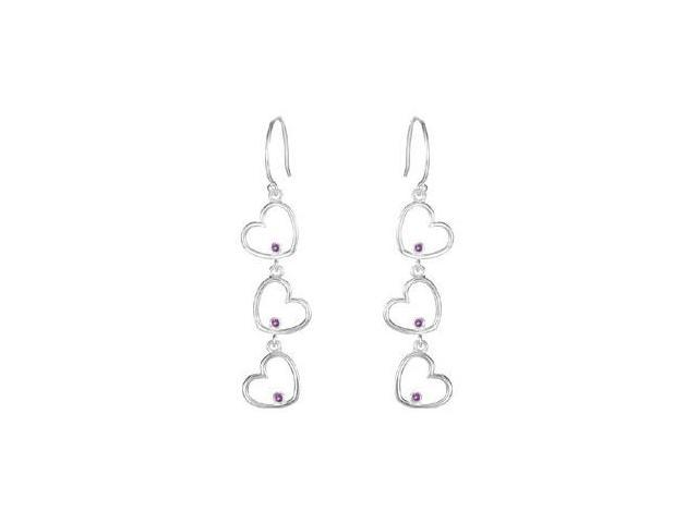 Rhodium Treated .925 Sterling Silver Amethyst Triple Heart Design Earrings
