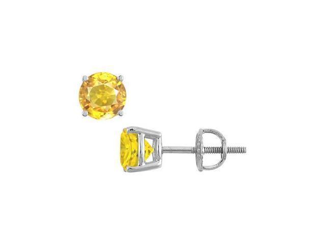 10 Carat Yellow Sapphire Stud Earrings in 14K White Gold