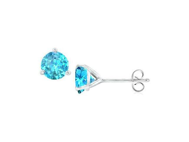 Sterling Silver Martini Style Blue Topaz Stud Earrings with 1.00 CT TGW