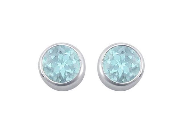 Created Aquamarine Solitaire Stud Earrings in 14kt White Gold 2.00.ct.tgw