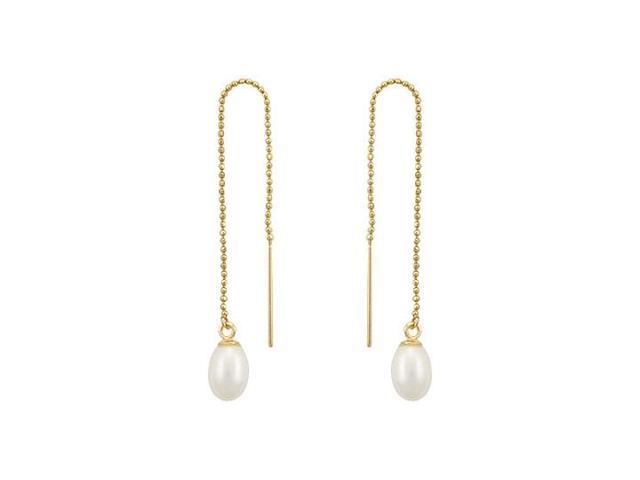 Freshwater Cultured Pearl Thread Earrings  14K Yellow Gold