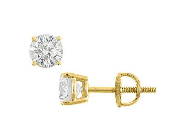 Cubic Zirconia Stud Earrings in 14K Yellow Gold 12 Carat Totaling CZ of Triple AAA Quality