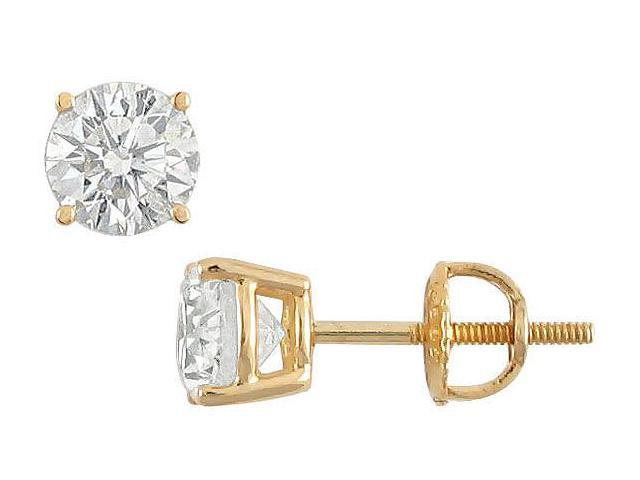 18K Yellow Gold  Round Diamond Stud Earrings  1.75 CT. TW.
