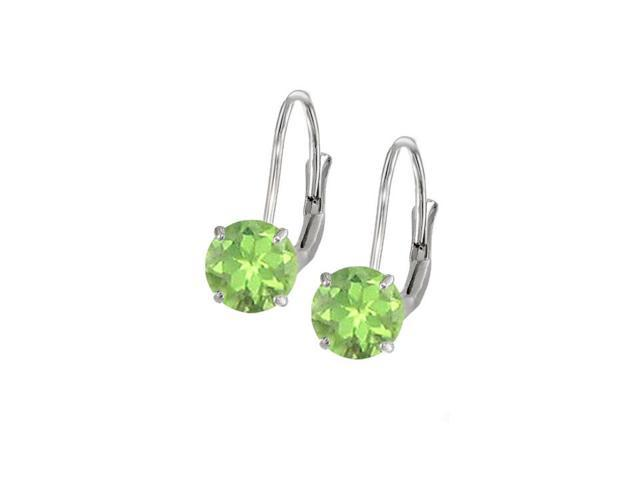 Leverback Earrings in 14K White Gold with Peridot Gemstone 2.00 CT TGWPerfect Jewelry Gift