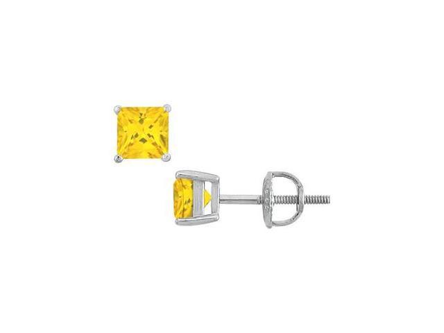 14K White Gold Princess Cut Yellow Sapphire Stud Earrings with 4.00 Carat TGW