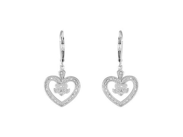 Diamond Heart Design Earrings in .925 Sterling Silver 0.06 Carat Diamonds 37.50X16.75 MM