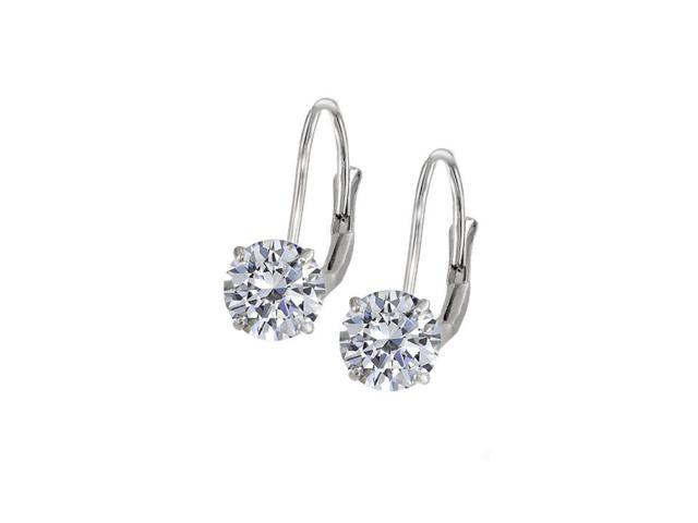 Leverback Earrings in 14K White Gold with Cubic Zirconia Gemstone 2.00 CT TGW