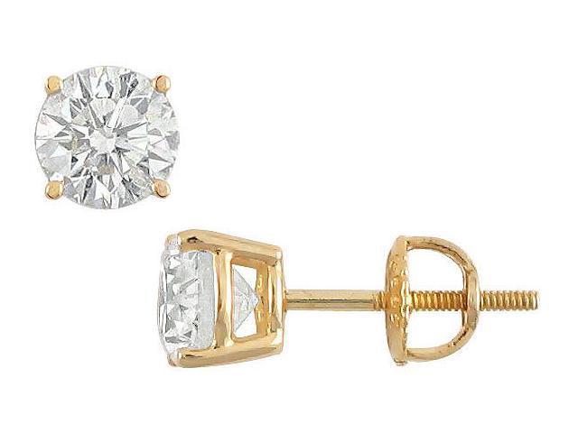 18K Yellow Gold  Round Diamond Stud Earrings  2.00 CT. TW.