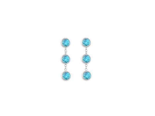Six Carat Totaling Created Blue Topaz Station Drop Earrings in 925 Sterling Silver Bezel Setting