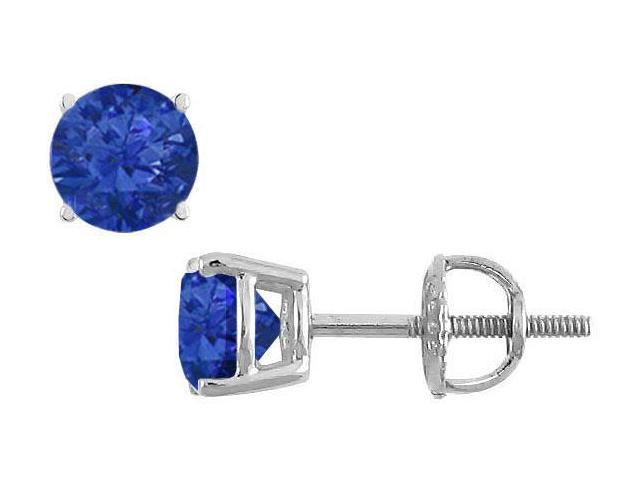 14K White Gold  Prong Set Blue Sapphire Stud Earrings 1.00 CT TGW