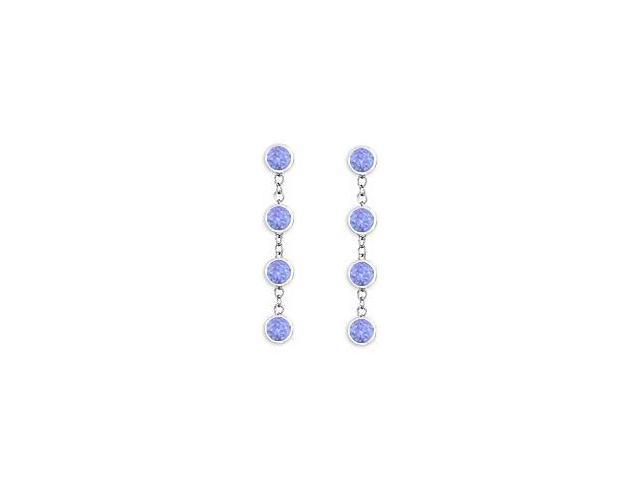 Tanzanite By The Yard Earrings with Tiffany Inspired Chain in 14K White Gold One Carat TGW