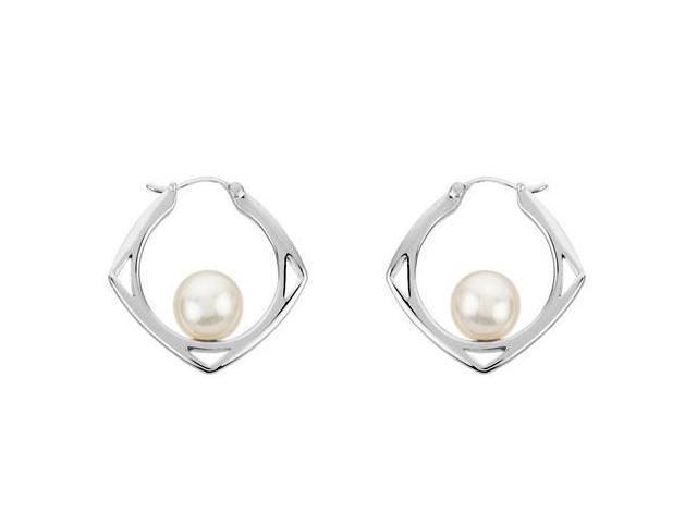 .925 Sterling Silver Freshwater Cultured Pearl Floating Earrings 8 MM
