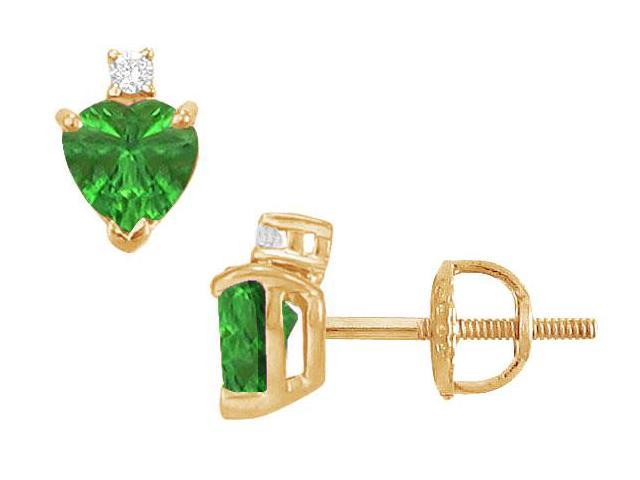 Diamond and Emerald Stud Earrings  14K Yellow Gold - 2.04 CT TGW