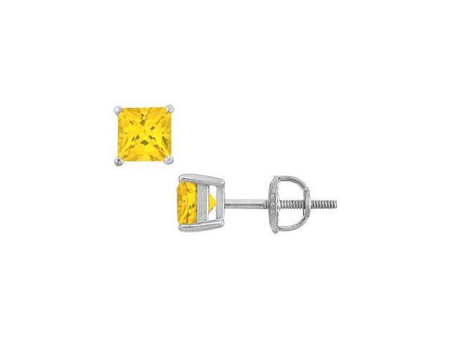 5 Carat Yellow Sapphire Princess Cut Stud Earrings in 14K White Gold