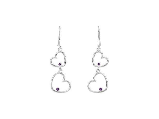 Amethyst Double Heart Dangle Earrings in Rhodium Treated .925 Sterling Silver 38.50X12.50 MM