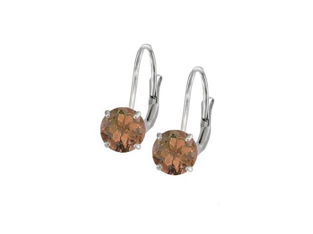 Leverback Earrings in 14K White Gold with Smoky Quartz Gemstone 2.00 CT TGWPerfect Jewelry Gift