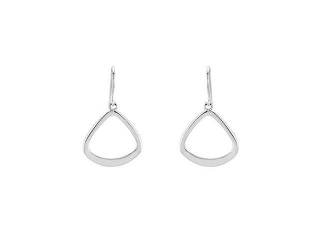 Geometric Style Dangle Earrings in Rhodium Treated .925 Sterling Silver