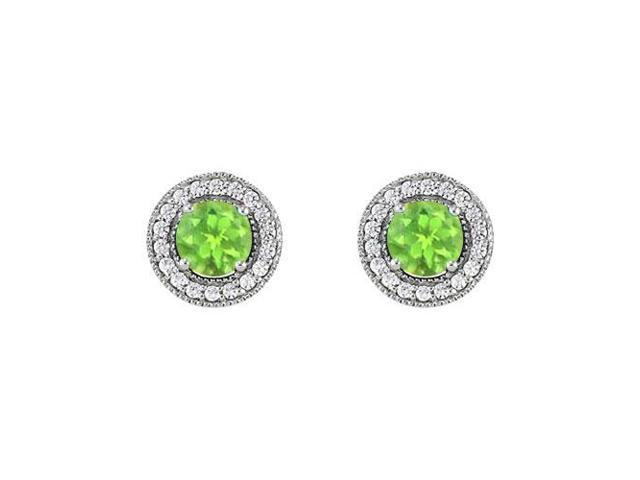 August Birthstone Peridot and Cubic Zirconia Halo Stud Earrings in Sterling Silver 2.50 CT TGW