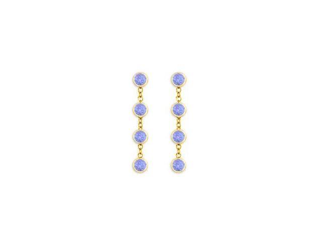 Tanzanite By The Yard Earrings with Tiffany Inspired Chains in 14K Yellow Gold One Carat TGW