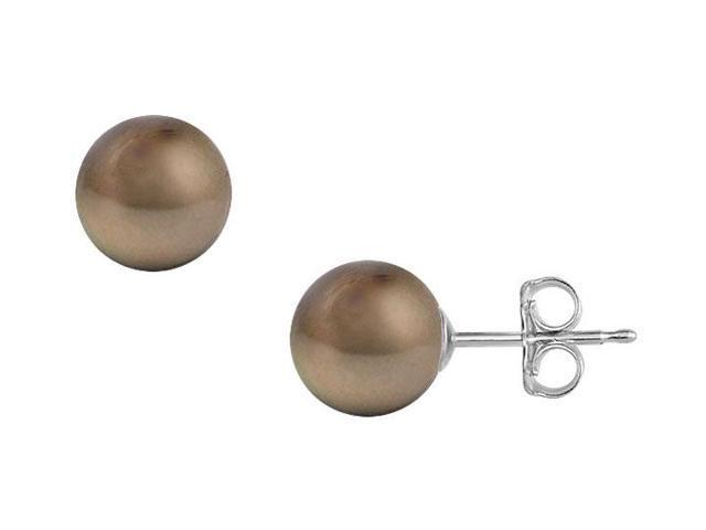 Tahitian Pearl Stud Earrings  18K White Gold  12 MM
