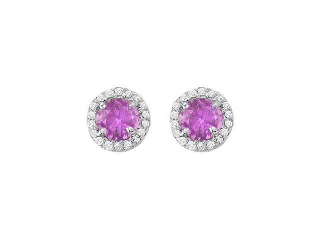 February Birthstone Amethyst and CZ Halo Stud Earrings in 14kt White Gold 2.25 CT TGW