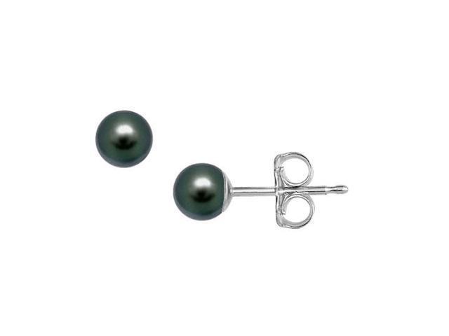 Akoya Cultured Pearl Stud Earrings  14K White Gold  4 MM