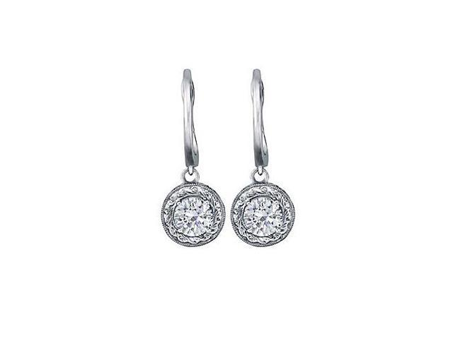 April Birthstone Diamond Leverback Earrings in 14K White Gold 1.00 CT TDW