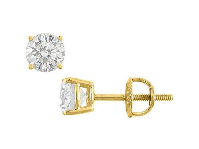 Cubic Zirconia Stud Earrings in 14K Yellow Gold Triple AAA Quality CZ of 20 Carat Total Weight