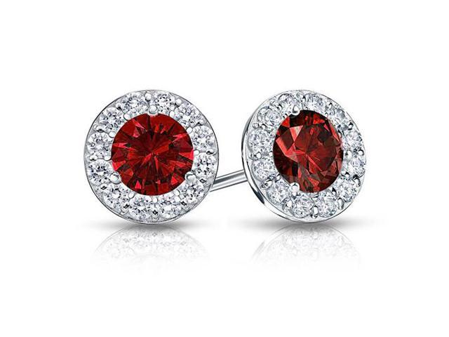 Created Ruby and CZ Halo Stud Earrings in 14K White Gold 1.00.ct.tw