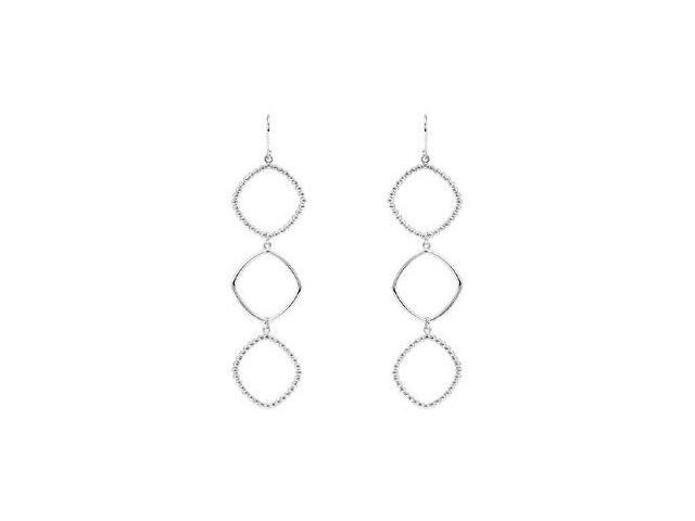 Triple Square Shaped Dangle Earrings in Rhodium Treated .925 Sterling Silver 78.50X21.50 MM