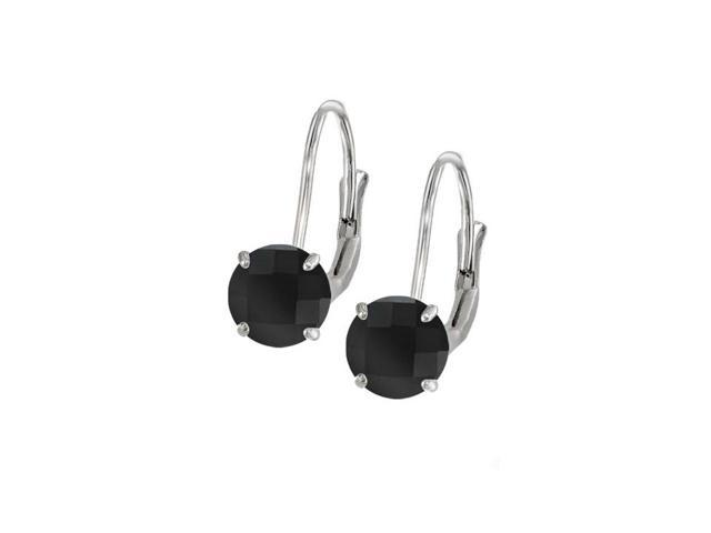 Leverback Earrings in 14K White Gold with Onyx Gemstone 2.00 CT TGWPerfect Jewelry Gift